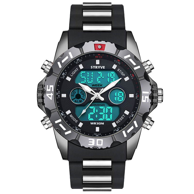 Alibaba.com / Stryve Men Military Watch Waterproof Wristwatch LED Quartz Clock Dual Display Watch Male relogio masculino 8010 Sport Watch Men