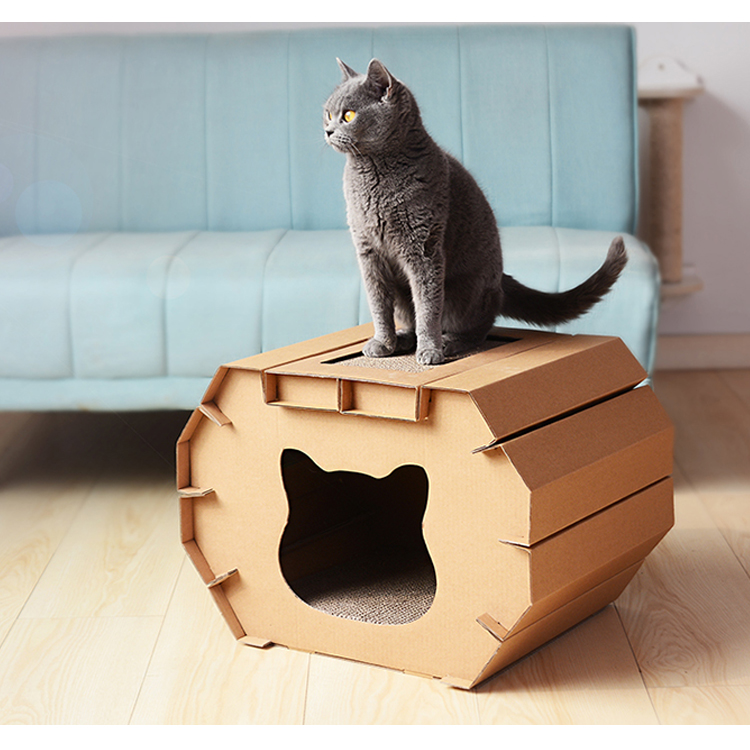 2018 trending products easy assemble with cat scratcher cardboard indoor cat house