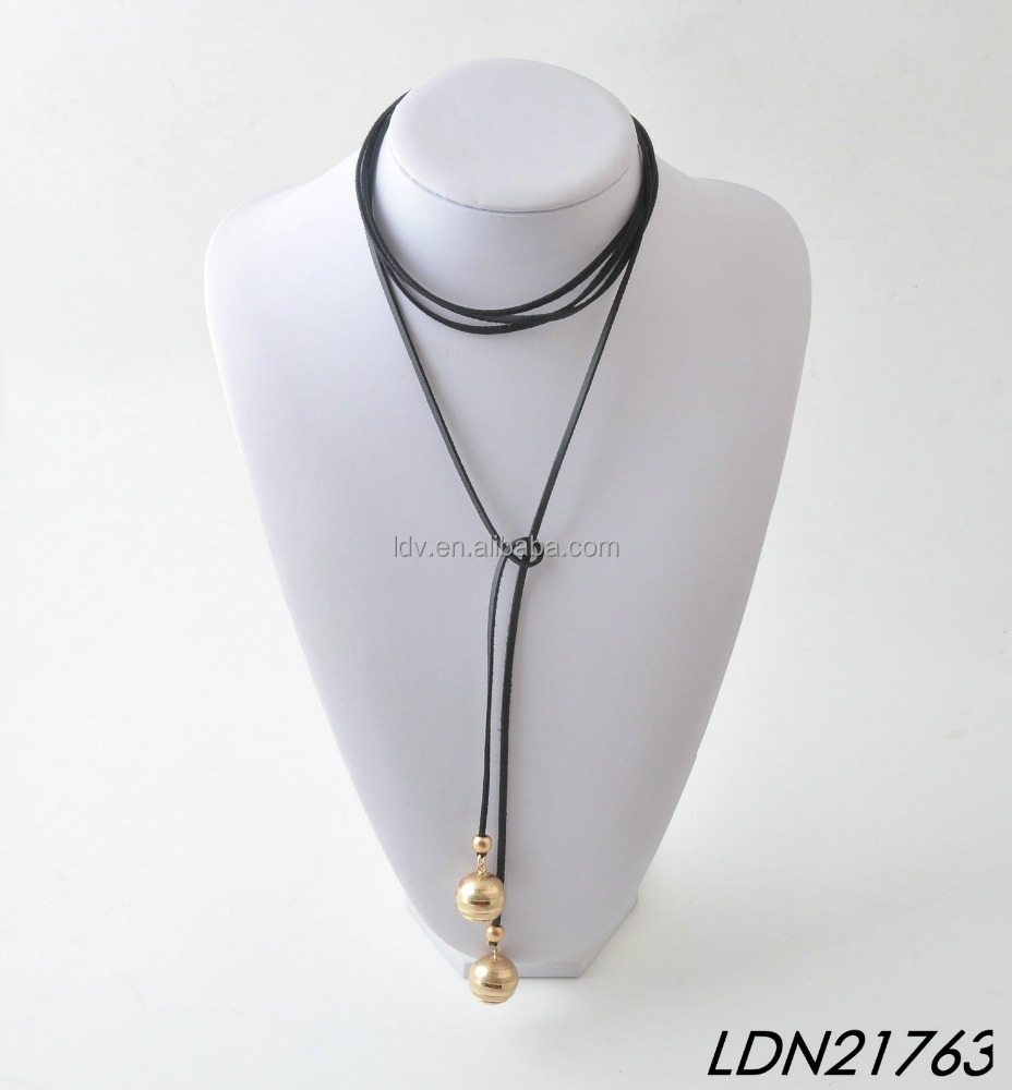 Latest More Roll Black Suede Worn Gold Necklace Jewelry