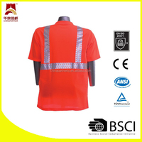 reflective high visibility orange Class 2 Hi Vis Safety 100% moisture wicking polyester T shirt