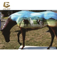 JN-KN-FS72 Garden decoration life size resin painted fiberglass horse
