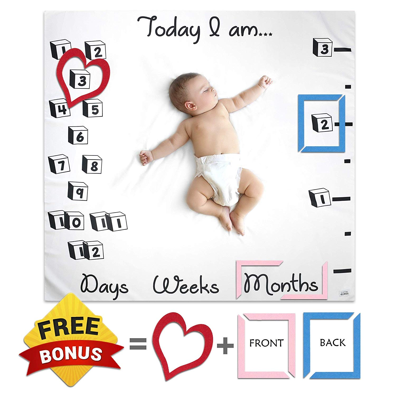 Baby Monthly Milestone Blanket With Frames For Boy Girl | Soft Newborn Photography Props Set By Little GONZA | Large Toddler Photo Month Blanket Backdrop | Baby Registry, New Mom, Baby Shower