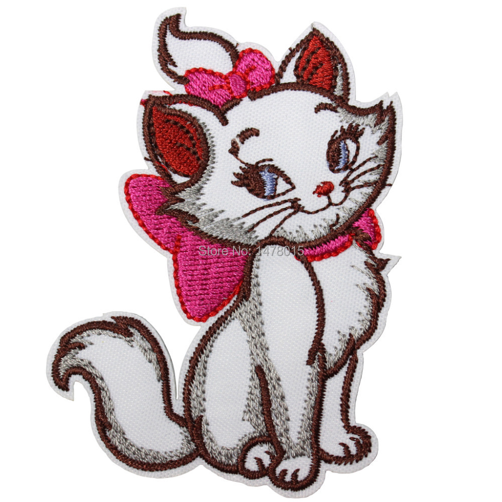 Wholesale!8pcs Embroidered Iron On Patches-Pink Bowknot Marie Cat Cartoon Movie Emblem Garment Applique 3.14X2.36inch
