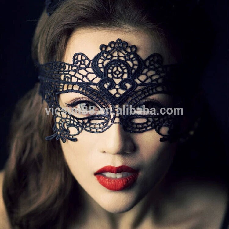 LS-004 Yiwu Caddy simple design Halloween Masquerade Party Black Lace Mask