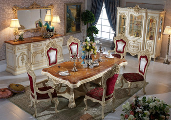 Bisini Luxury Italian Style Dining Table French Royal Room Furniture Set