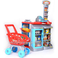 Children Plastic Supermarket Play Set Toy Cash Register with Shopping Cart