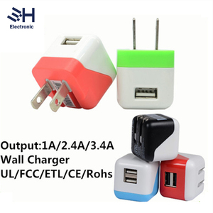 Portable 5V 1A UL ETL FCC USB Wall Charger with Foldable US Plug LED Travel Adapter for Apple Samsung