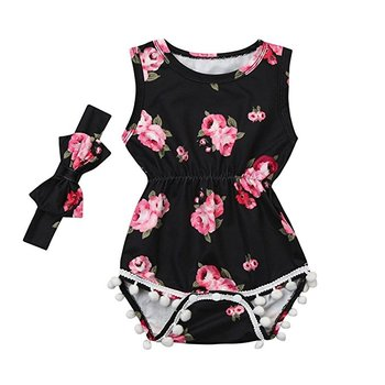 Clearance Sale Summer Baby Infant Girl Romper Floral Sleeveless Tassel Bodysuit Headband Clothes Outfit