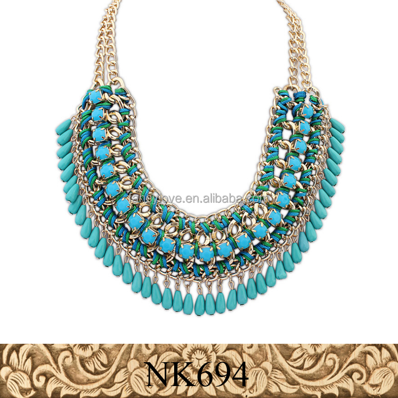 694 blue necklace new arrival fashion <strong>jewelry</strong> wholesale statement <strong>jewelry</strong> zinc alloy metal statement necklace <strong>jewelry</strong>
