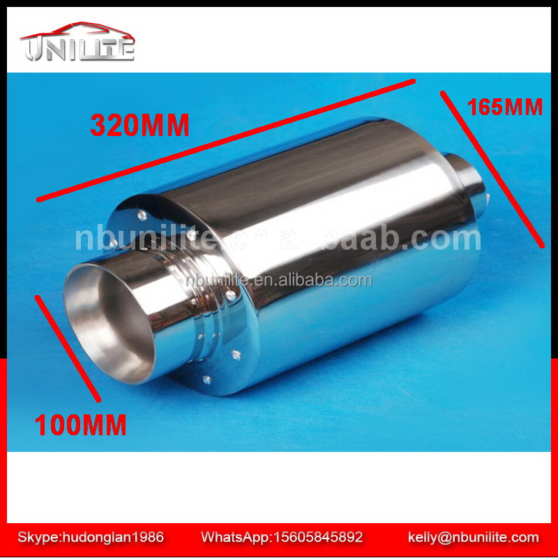 Stainless Steel exhaust pipe Universal Round Mufflers Length:320mm UNI-M-310