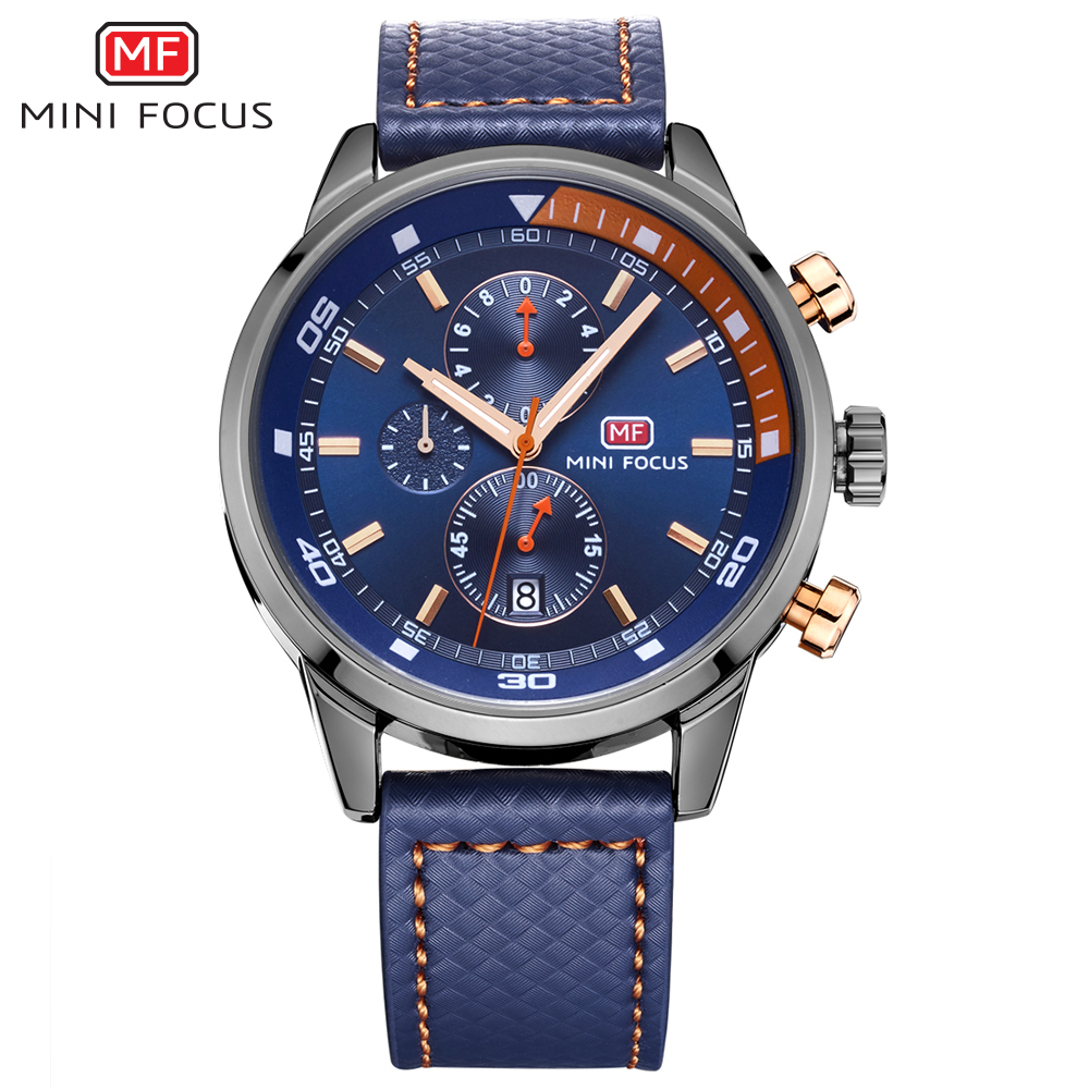 MINI FOCUS MF0017G Cool Fashion Chronograph Calendar Analog Rattrapante Military Sports Male Wristwatch Casual фото