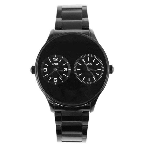 Black Fashion Men's Watch Dual Dial Quartz Analog Watch Casual Steel Strap Wristwatch Relogio Masculino