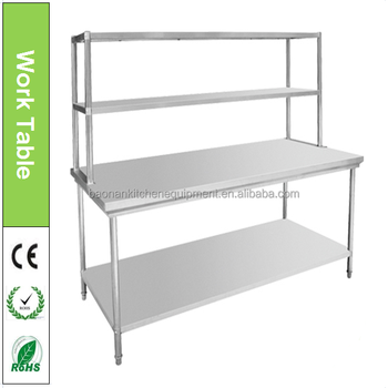 BN W31 Hotel Restaurant Commercial Kitchen Stainless Steel Work Table With  Top Shelf Photo