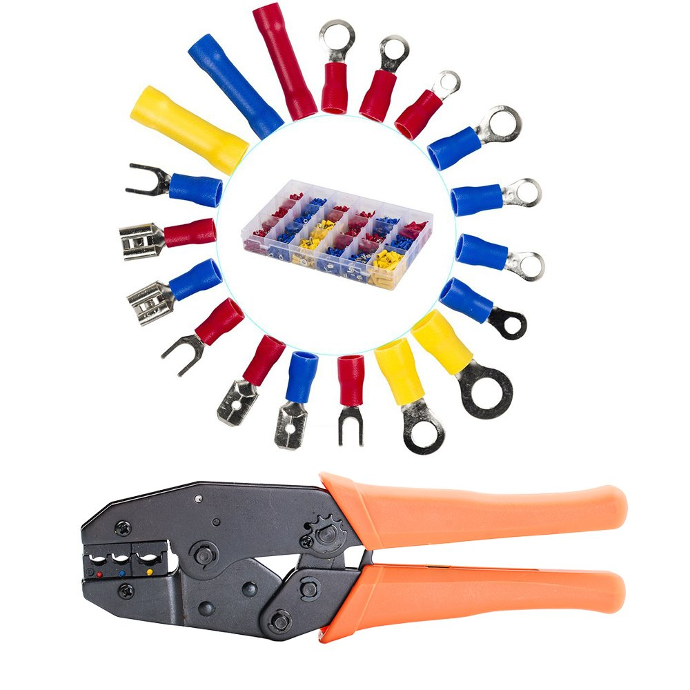 HIFROM 1200Pcs Assorted Crimp Terminals with Wire Terminals Connectors Ratcheting Crimper Tool,Mixed Assorted Lug Kit, Spade Ring Set for Automotive, Electrical Wirings, LED Lighting, Home DIY