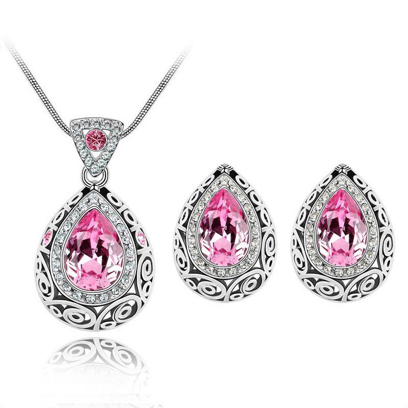 Австрийский Кристалл горный хрусталь кулон ожерелье серьги-гвоздики набор женский набор ювелирных изделий для вечеринки