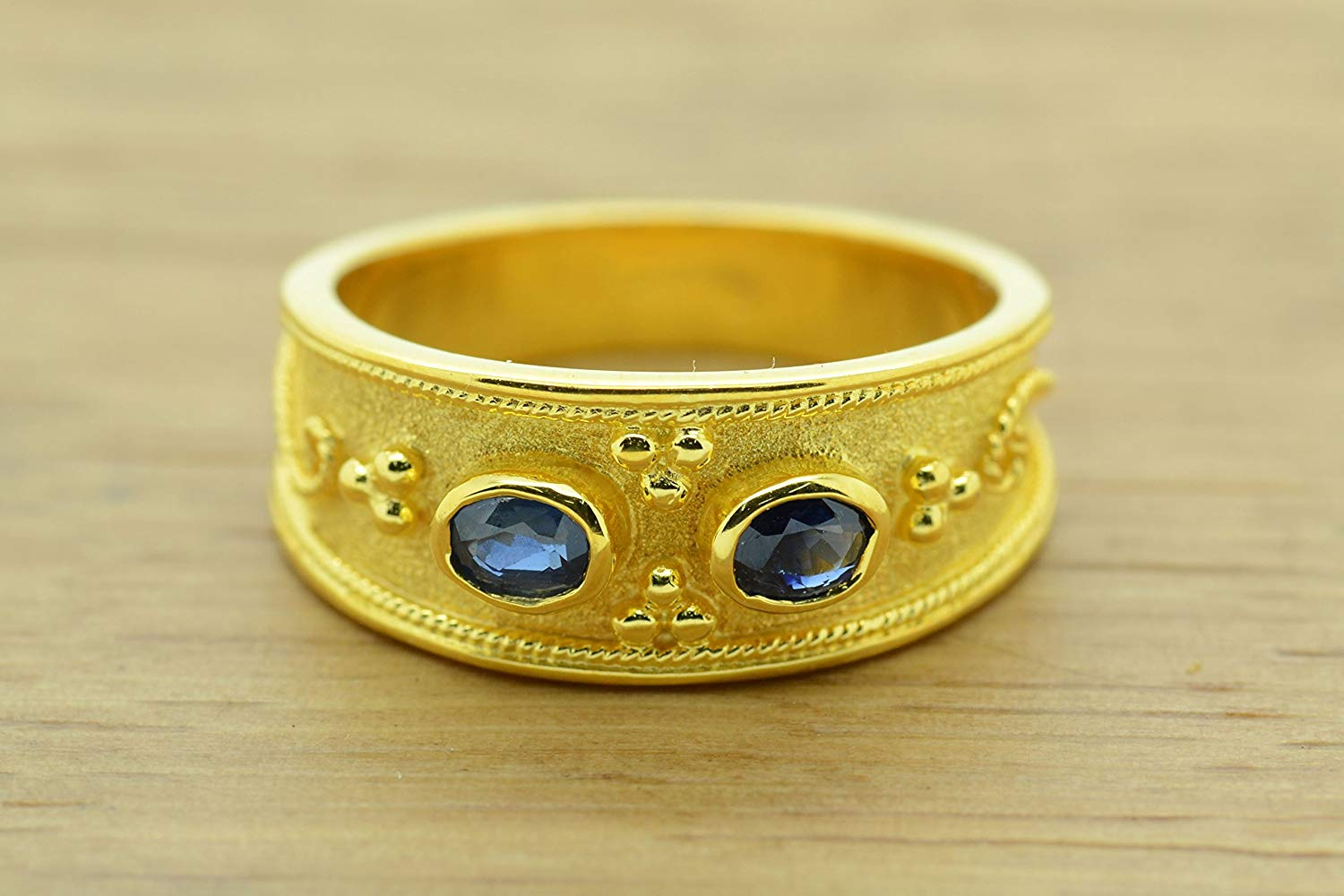 Blue Sapphire Ring Byzantine Style 925 Sterling Silver Greek Handmade Art 22K Gold Plated, CZ Band Ring, Sterling Silver Ring, Byzantine Ring, Greek Jewelry, Luxury Ring, Medieval Ring, Elegant Sterling Silver Ring, cubic zirconia Ring