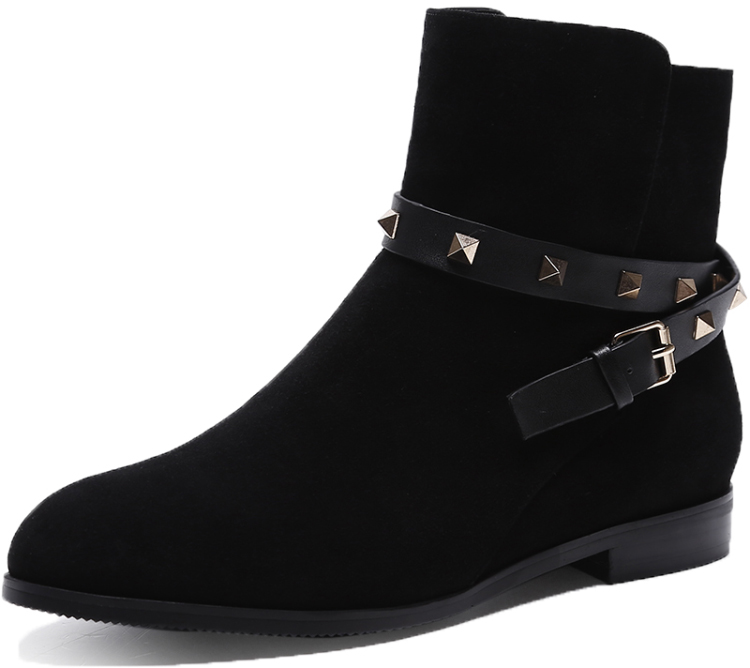 New Arrival Black Color Genuine Leather Suede Sexy Women Ankle Low Heel Wholesale Work Boots