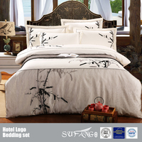 Classical Bamboo Design Embroidery Bedding Set Wholesale Including Bed Sheet/Duvet Cover/Quilt/Pillow Case