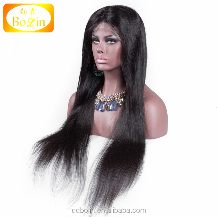 Best Sales Top quality extra long natural color human hair lace front wig Free Shipping