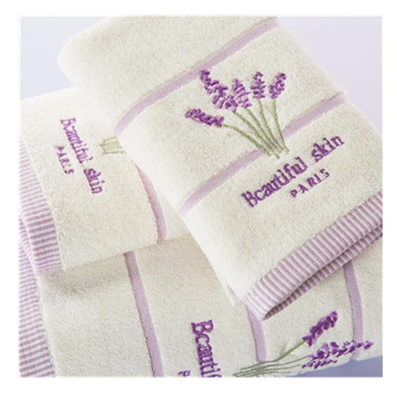 George Gouge 3 Piece Embroidery Lavender Cotton Towel Set Face Towels Bath For S