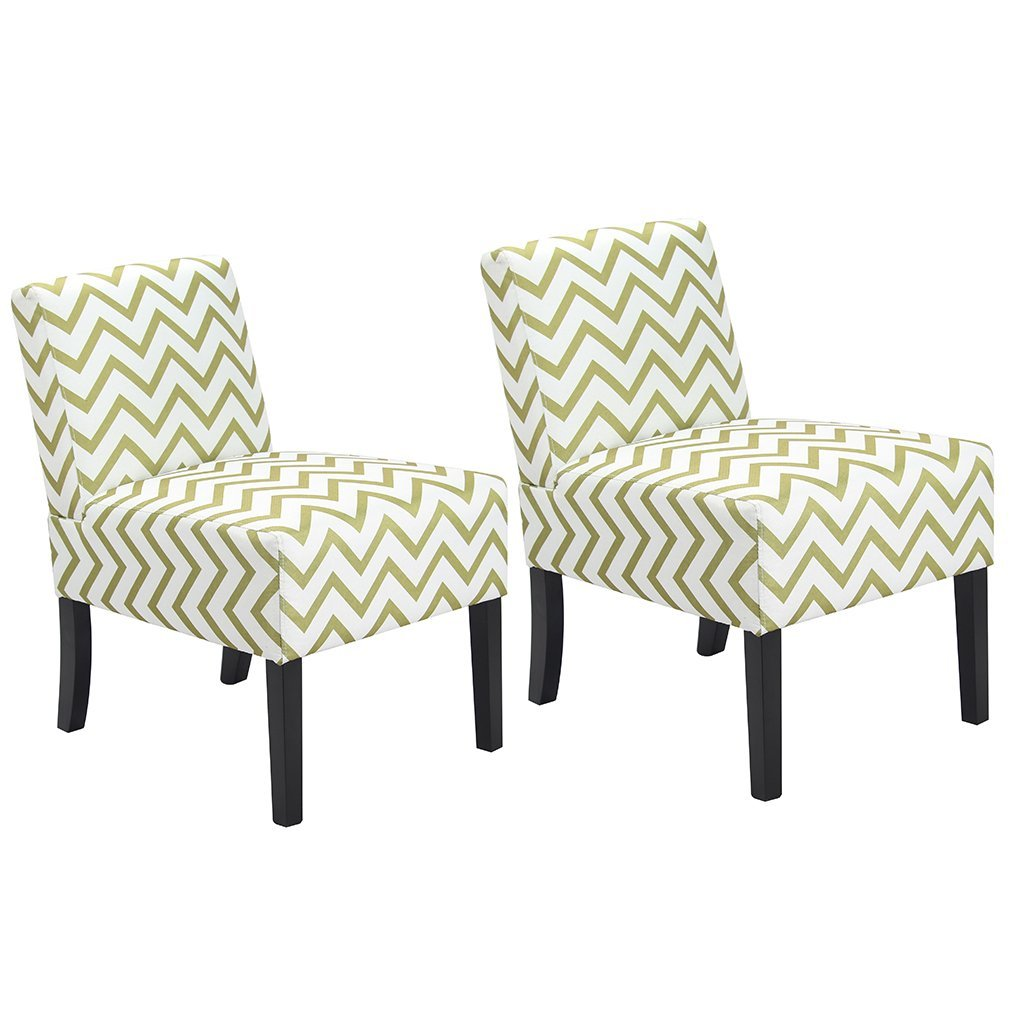 BestMassage Wave Patterned Fabric Accent Chair, Dining Side Sofa Chairs Set of 2