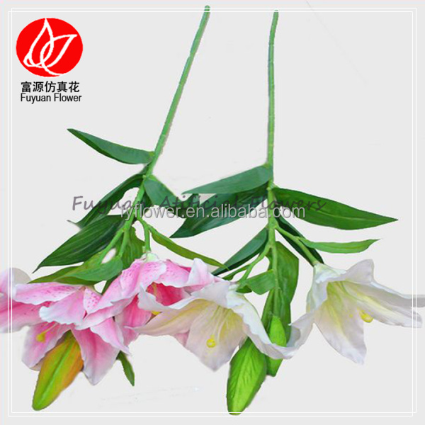 150430 Low price wholesale wedding artificail flowers white single stem lily flower