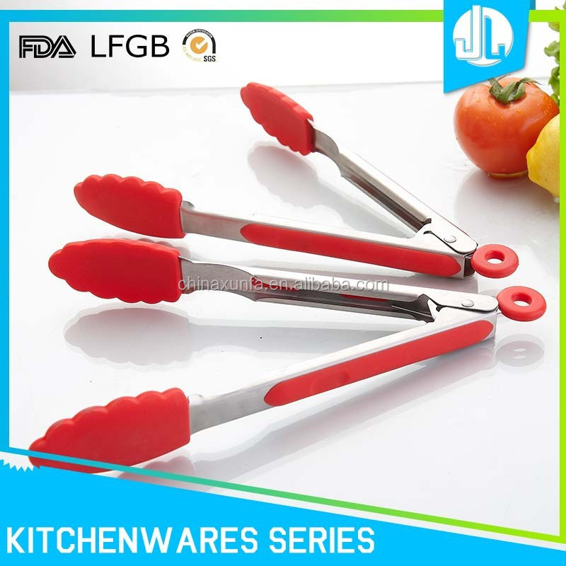 Kitchen heat resistant design BBQ stainless steel tongs with silicone, food tong