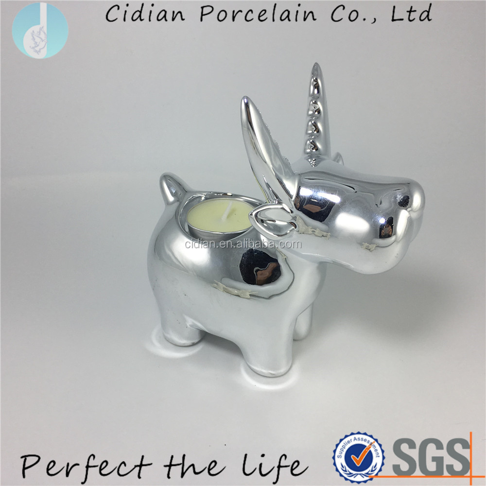 Silver ceramic reindeer candle holder for Christmas Decoration