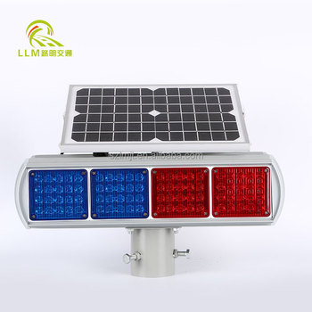 Highway Safety Blue And Red Led 4 Sets Solar Blinker Warning Traffic Light