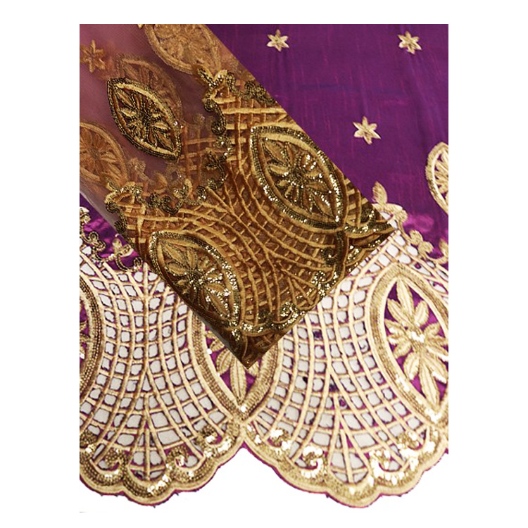 Queency 5yards wrapper 1.5yards blouse gold beads george net set with class