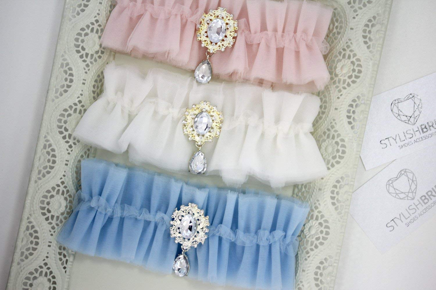 Wedding Garters Tulle, Blush Wedding Garter, Bridal Ivory Blue Pink garters, Tulle Bridal Garter, Bridal Garter Shiny Brooch