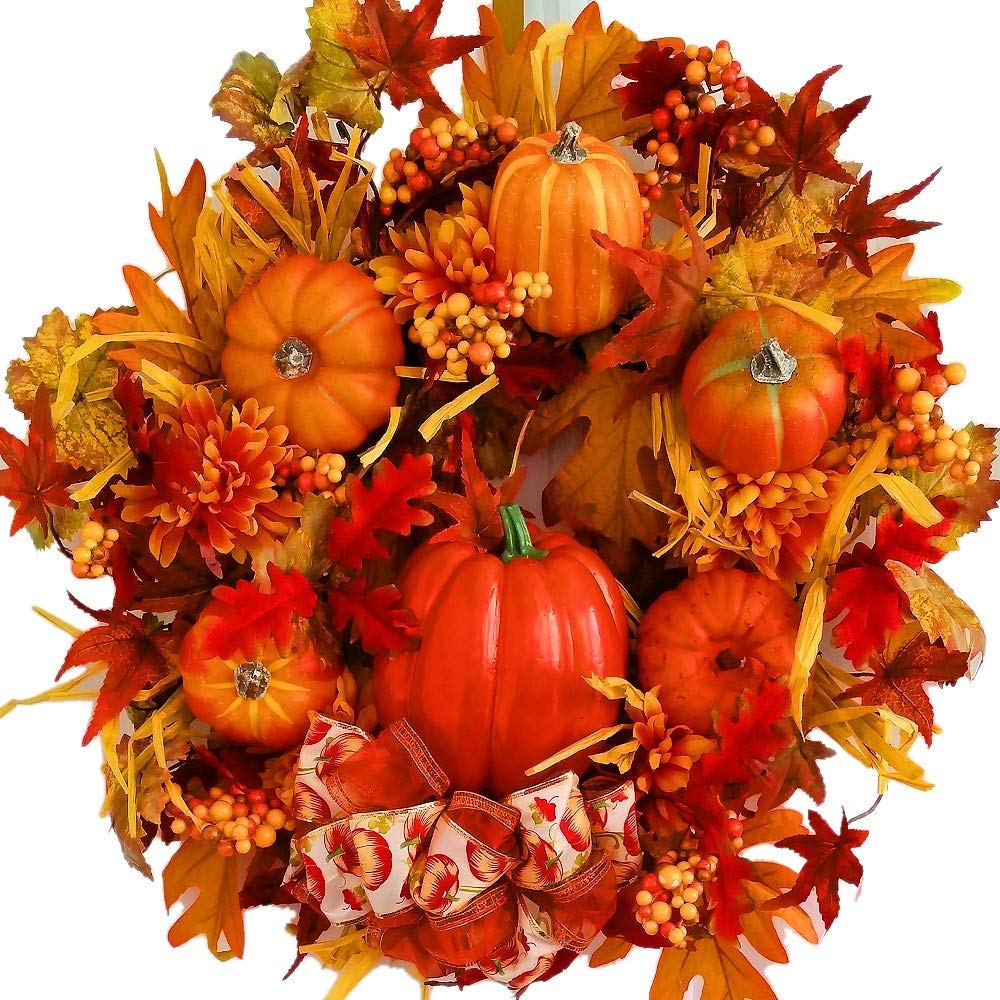 Artificial Christmas Wreaths - Pumpkin Patch Wreath - Fall - Autumn - Harvest - 21 inch Front Door Wreath
