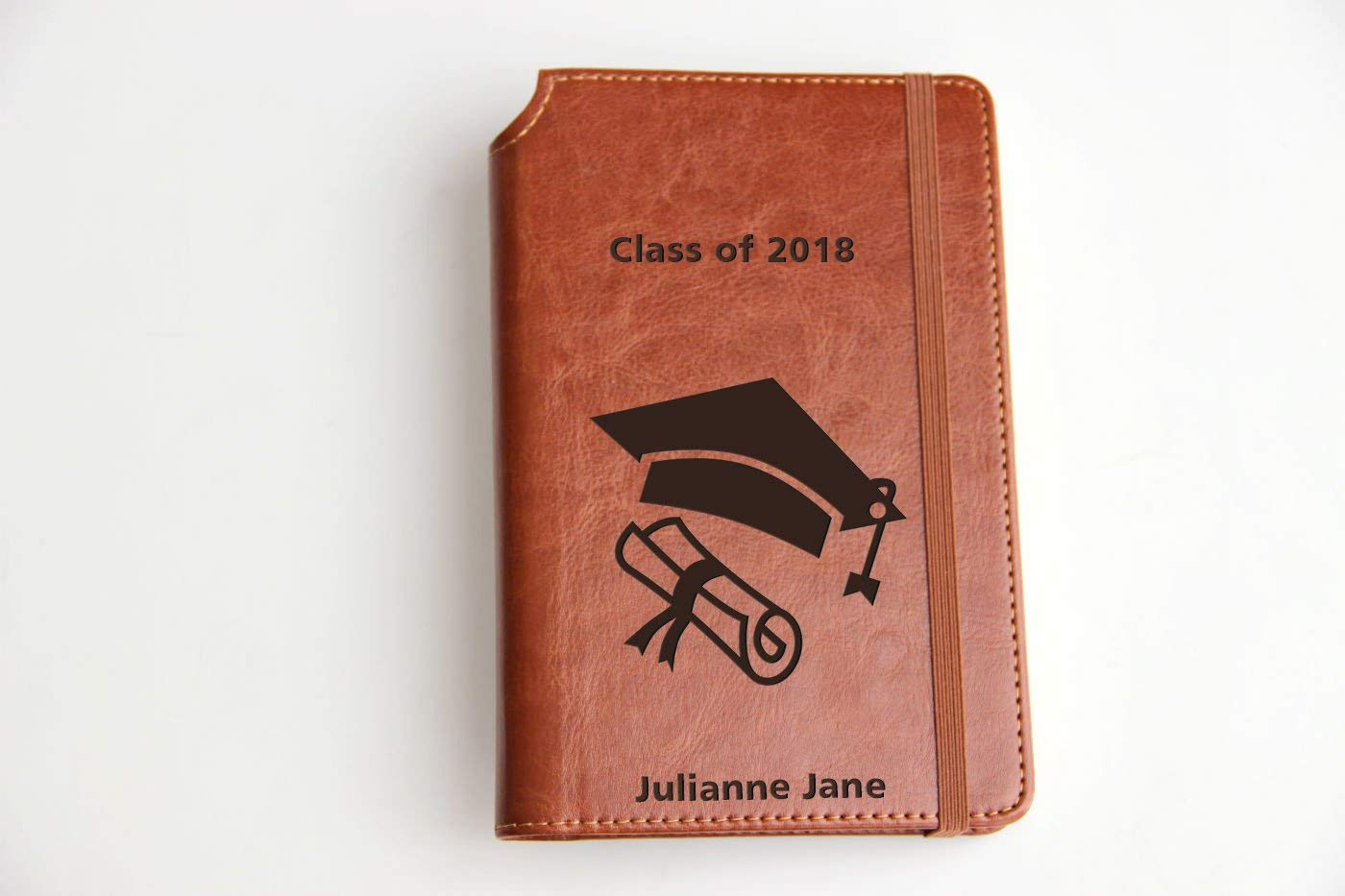 Customizable laser engraved 2018 Fully Customizable laser engraved personalized Graduation Journal with custom quote custom text leather bound with elastic band with the same color