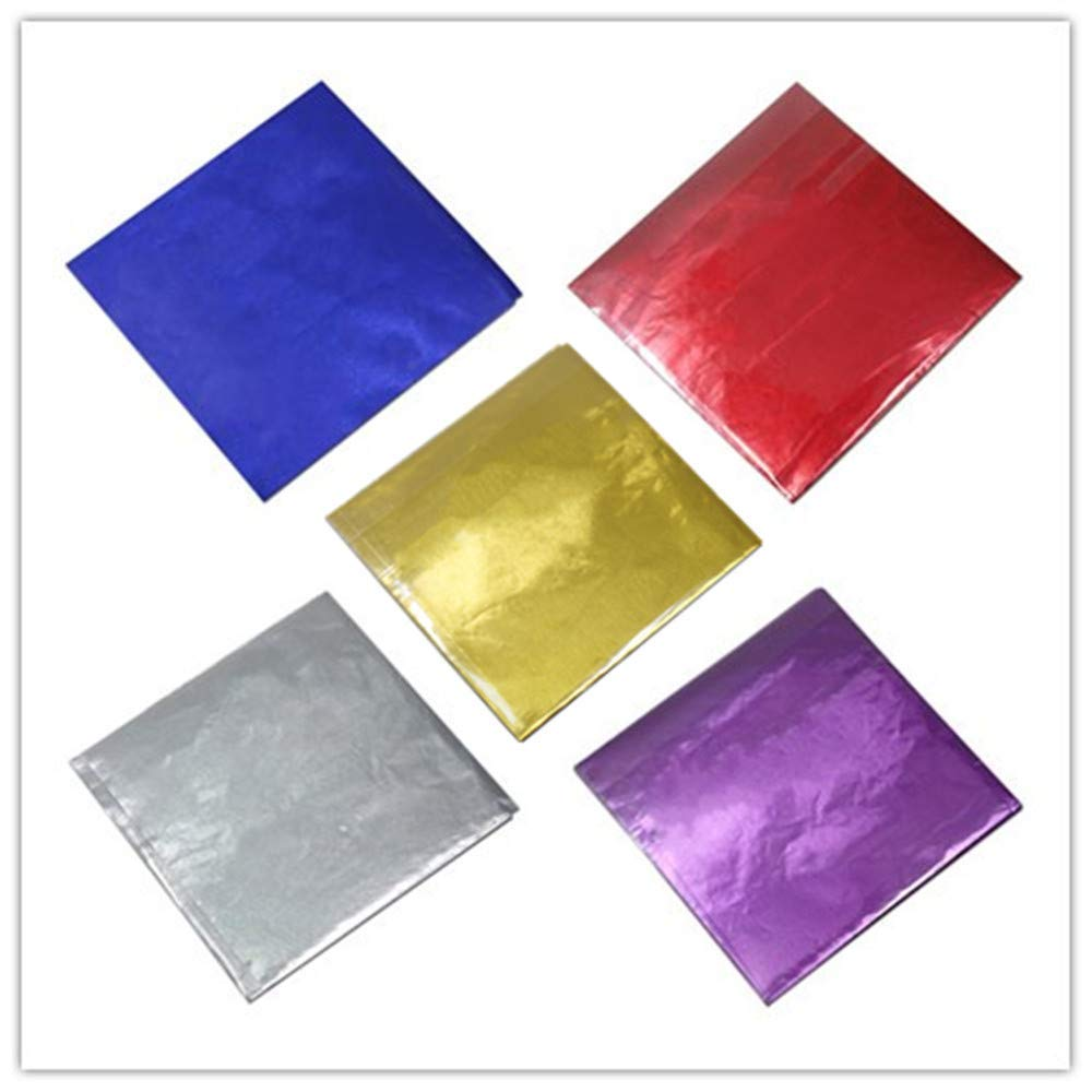 """500 Pcs 5 Colors Chocolate Candy Wrappers Aluminium Foil Paper Wrapping Papers Square Sweets Lolly Paper Food Safety Candy Tin Foil Wrappers for Candy Packaging Decoration (4""""x4"""")"""