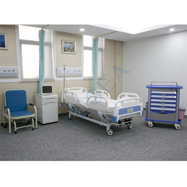 Imported ABS plastic double side drawers medical room furniture solution distribution abs medicine trolley