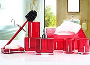 BBSLT Set seven piece bathroom wash acrylic bathroom set-bathroom new housewarming gift , red