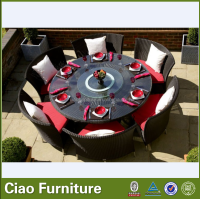 Big round table and chairs rattan patio dining furniture