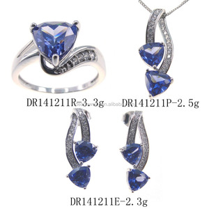 Fashion leader jewelry Tanzanite sets 925 Sterling silver jewelry sets DR141211S-T
