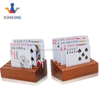 Pine Wood Playing Card Holder Rack Organizer Stand Set Of 2 Buy Playing Card Racks Diy Wood Card Holder Stand Up Card Holder Product On