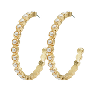 Latest pearl paved Cuff Piercing gold plated hoop earrings
