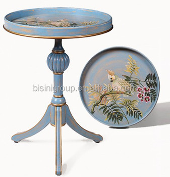 Antique Florentine Colorful Handpainted Accent Table, Classic Elegant Round  Solid Wood Side Table BF11