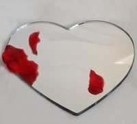 Custom heart shaped silver mirror acrylic placemats lucite placemats