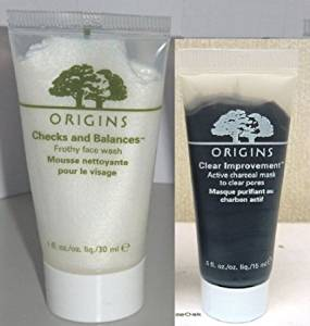 Origins Travel Set: Check and Balance Frothy Face Wash 30ml/1 Oz+origins Clear Improvement Active Charcoal Mask...