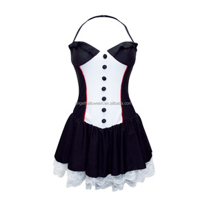 Sexy Women Adult Costume Mini Dress Ring Leader Black white Outfit BP2409