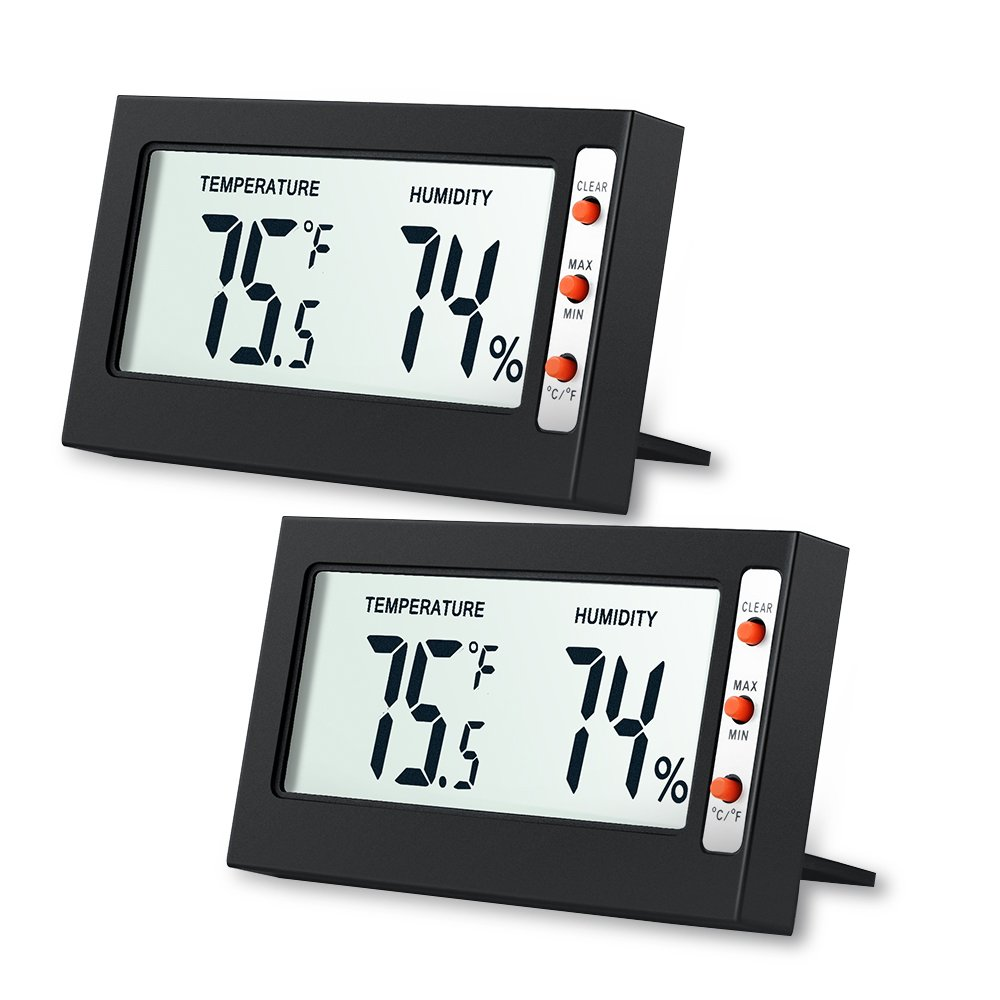 AMIR Indoor Digital Hygrometer Thermometer, 2 Pack Air Humidity Monitor with Temperature Gauge Humidity Meter, LCD Screen Multifunctional Hygrometer for Kids Home, Car, Office, Etc (Mini - 2 Pack)