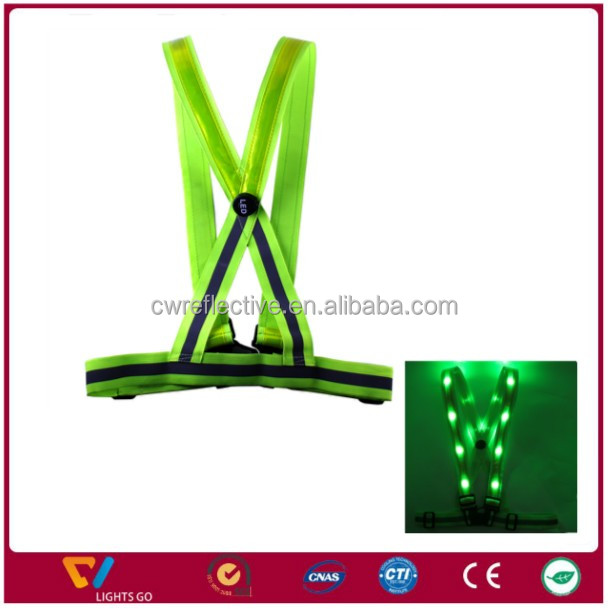green / blue color high light Reflective tape Rechargeable Flashing LED light Safety Vest belt for cycling