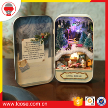 wholesale diy wooden light miniature dollhouse Handicraft Box Theatre as Christmas gift