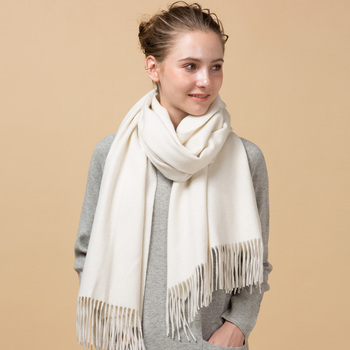 2019 fashion women solid white cashmere wool shawl scarf