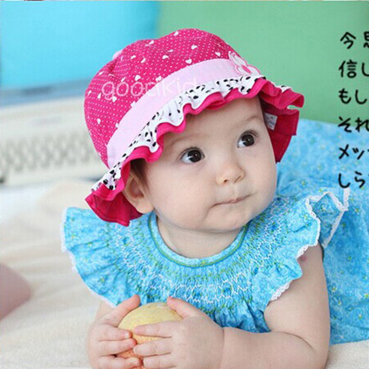 Retail new 2015 hot sale cute baby girl sun hat dot flower ...