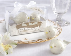 "ceramic wedding favors ""Feathering the Nest"" Ceramic Birds Salt & Pepper Shakers or Baby showers for free shipping"